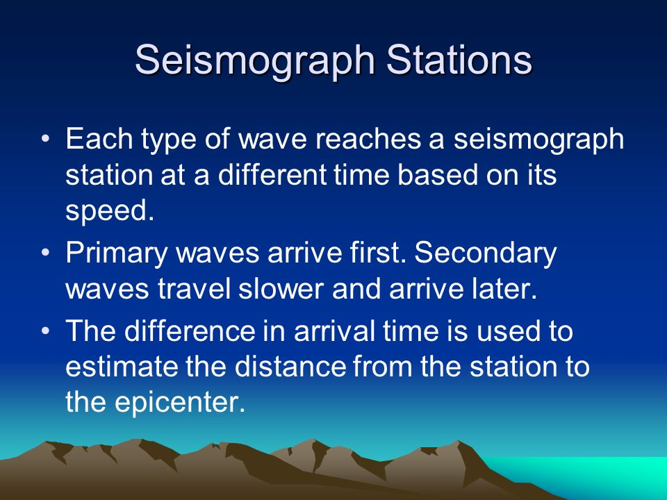 Seismograph Stations Each type of wave reaches a seismograph station at a different time based on its speed.