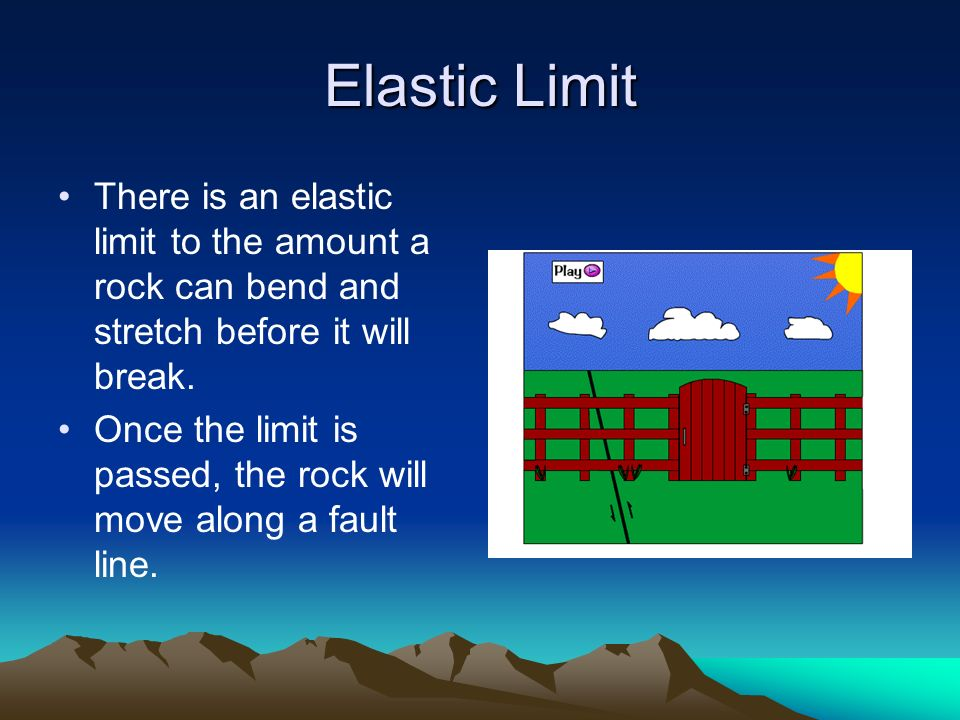 Elastic Limit There is an elastic limit to the amount a rock can bend and stretch before it will break.