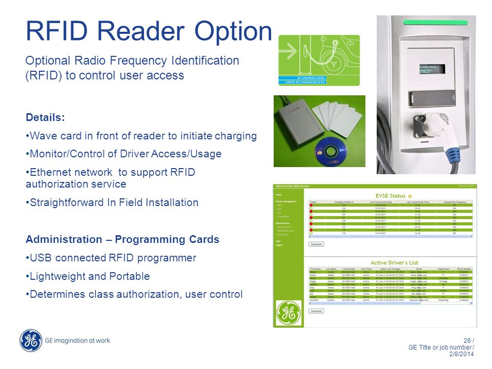 RFID Reader Option Optional Radio Frequency Identification (RFID) to control user access. Details: