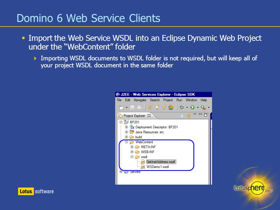 BP201: Coding Web Service Clients For IBM Lotus Domino - ppt