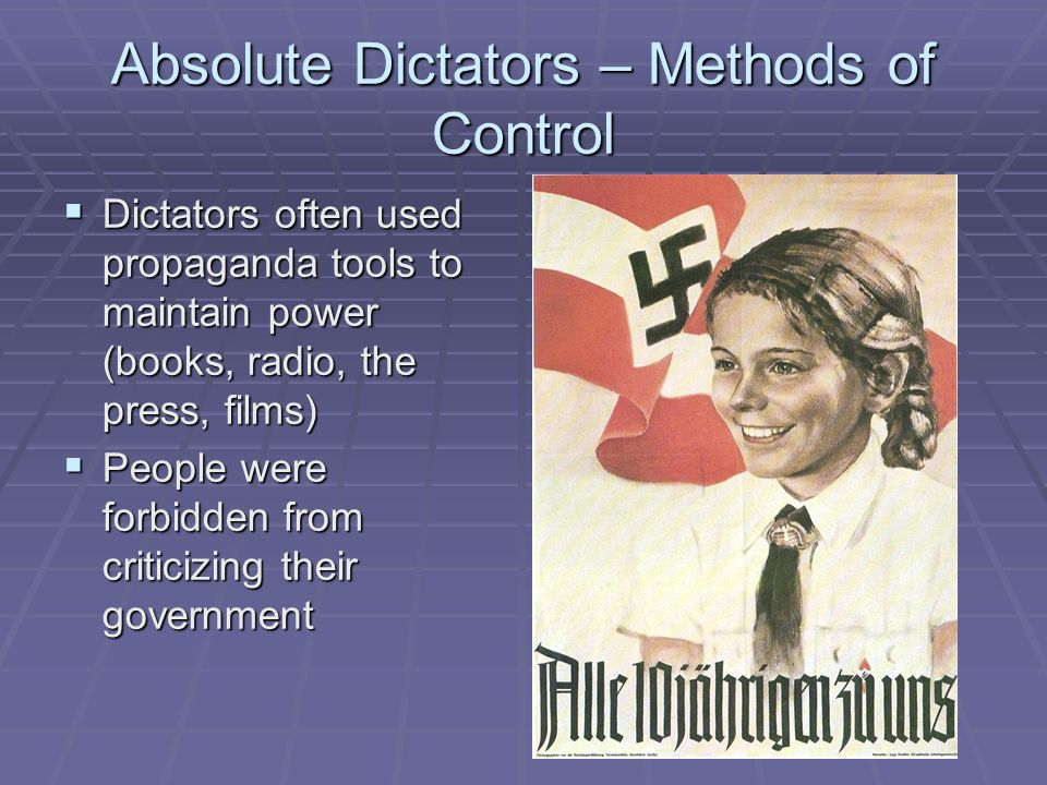 how did dictators use propaganda to maintain their power In addition to everything else already mentioned, dictators keep themselves in power by spending enormous resources on propaganda (and censorship) to keep individuals who hate the government from realizing they're not alone.