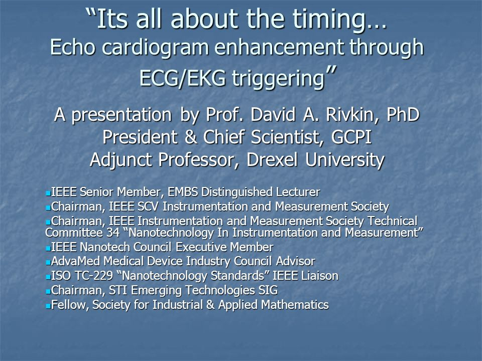 Its all about the timing… Echo cardiogram enhancement through ECG/EKG triggering