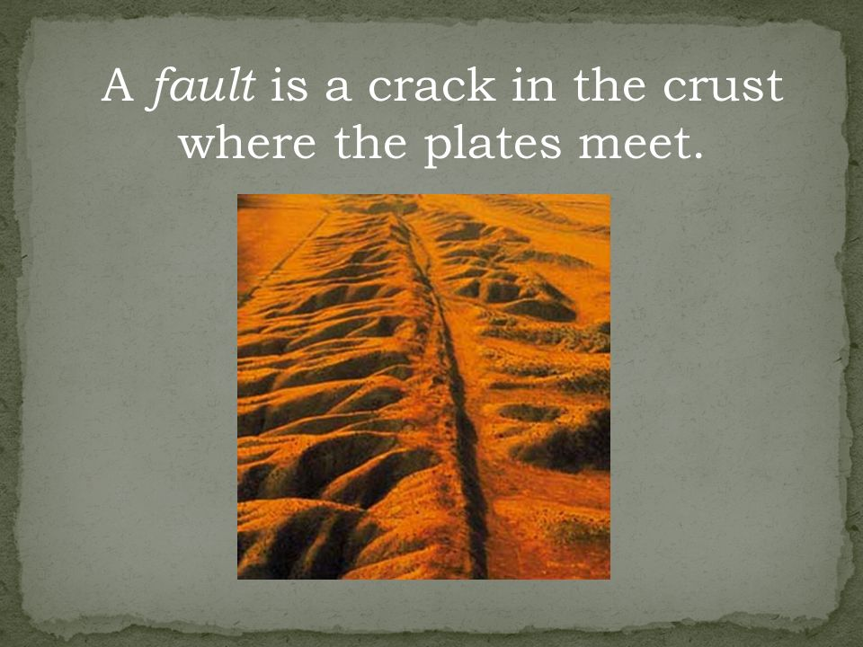 A fault is a crack in the crust where the plates meet.