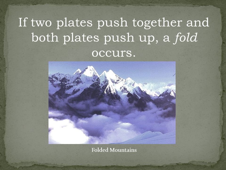 If two plates push together and both plates push up, a fold occurs.