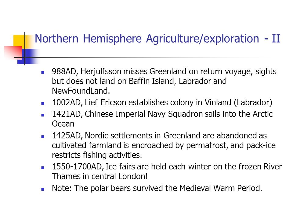 Northern Hemisphere Agriculture/exploration - II