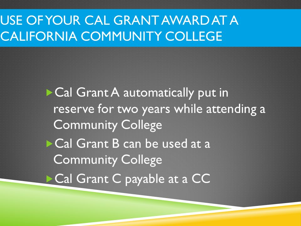 Use of your Cal Grant Award at a California Community College