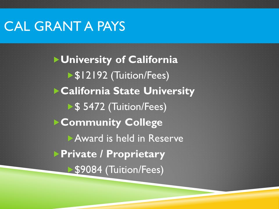 Cal Grant A Pays University of California $12192 (Tuition/Fees)