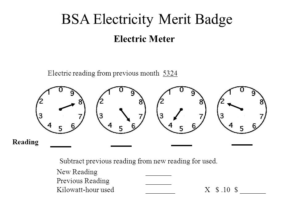Electric Meter Electric reading from previous month 5324 Reading