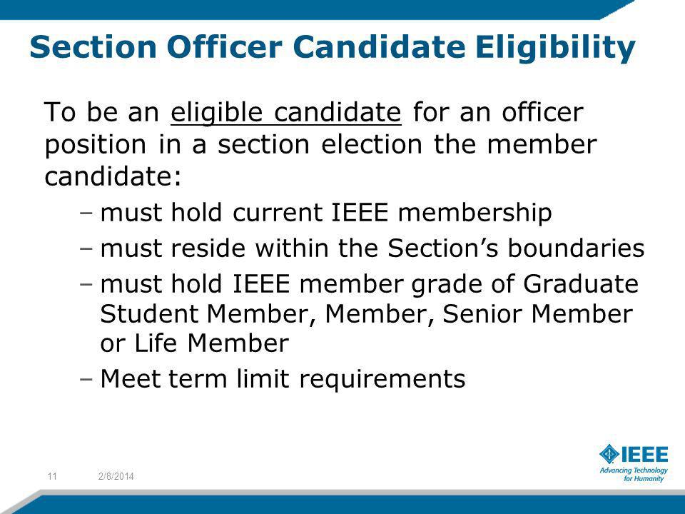 Section Officer Candidate Eligibility