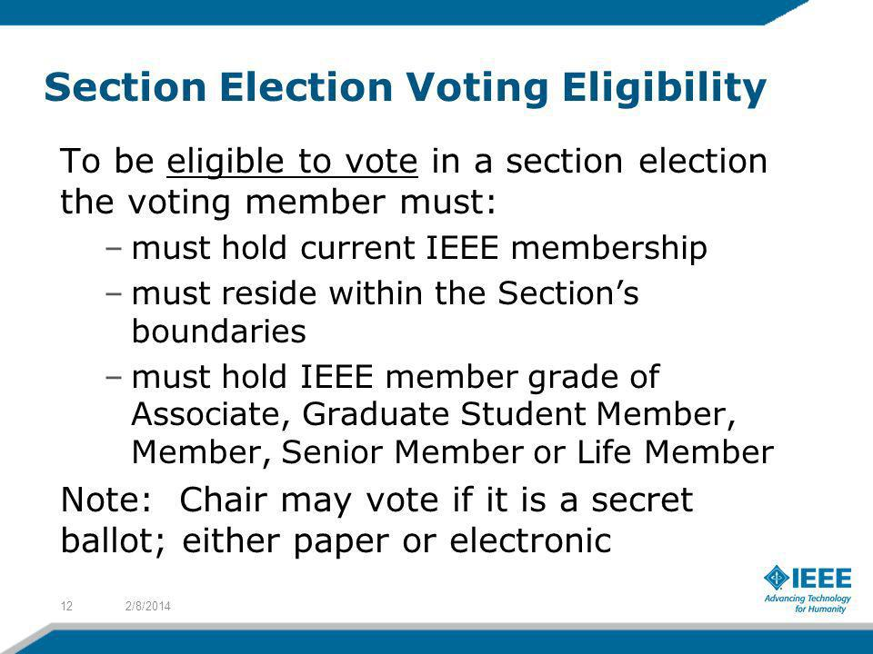Section Election Voting Eligibility