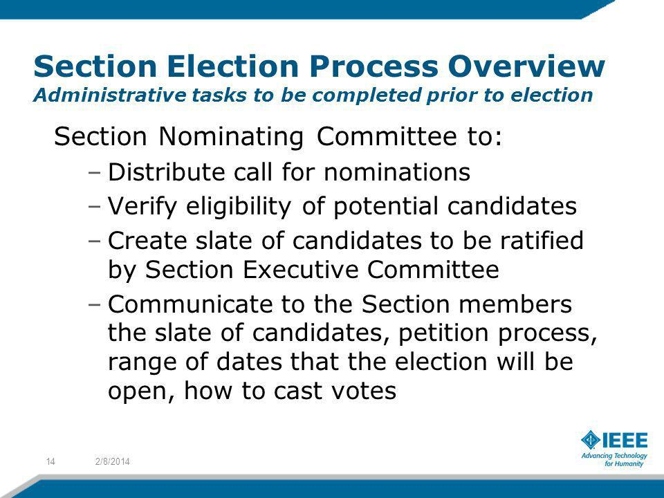 Section Election Process Overview Administrative tasks to be completed prior to election