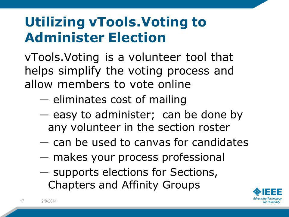 Utilizing vTools.Voting to Administer Election