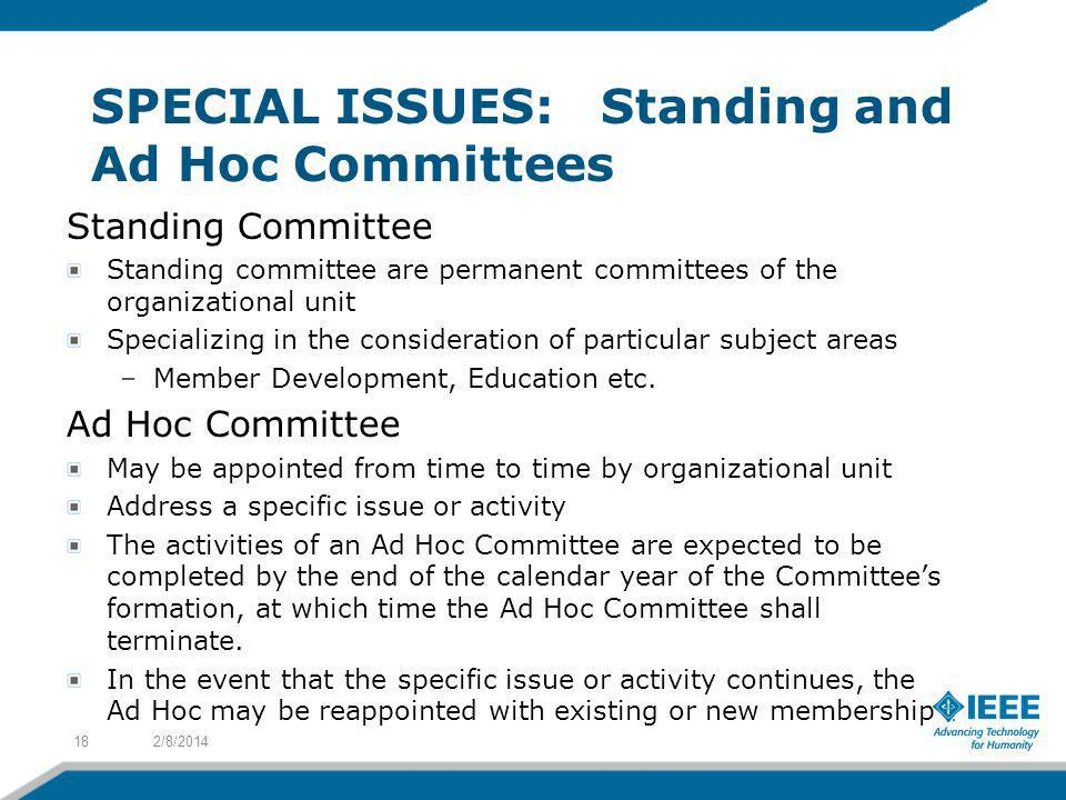 SPECIAL ISSUES: Standing and Ad Hoc Committees