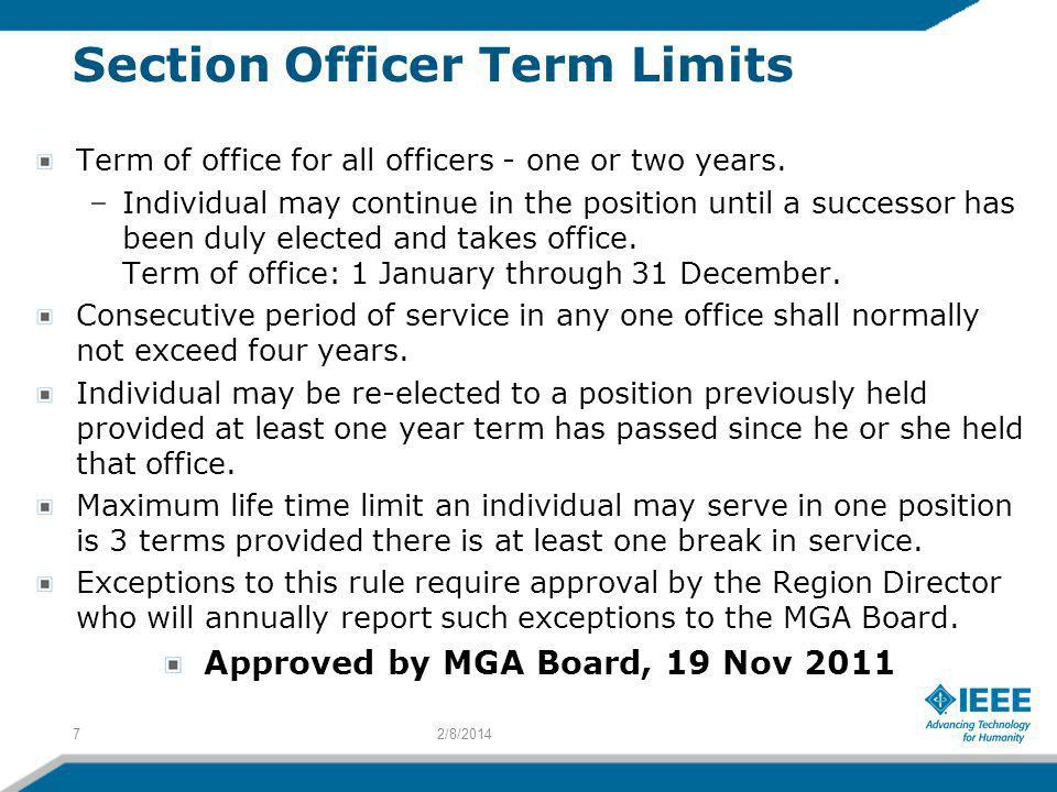 Section Officer Term Limits