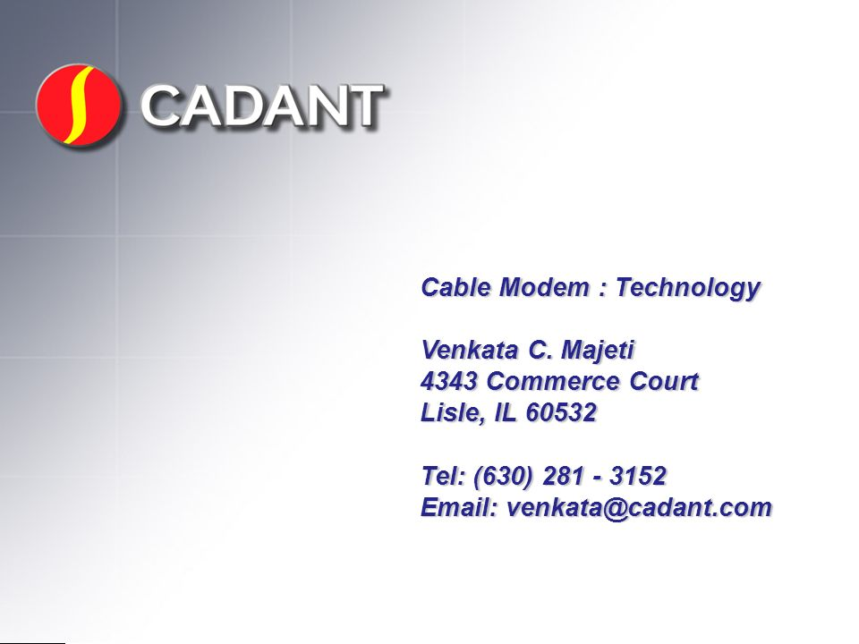 Cable Modem : Technology