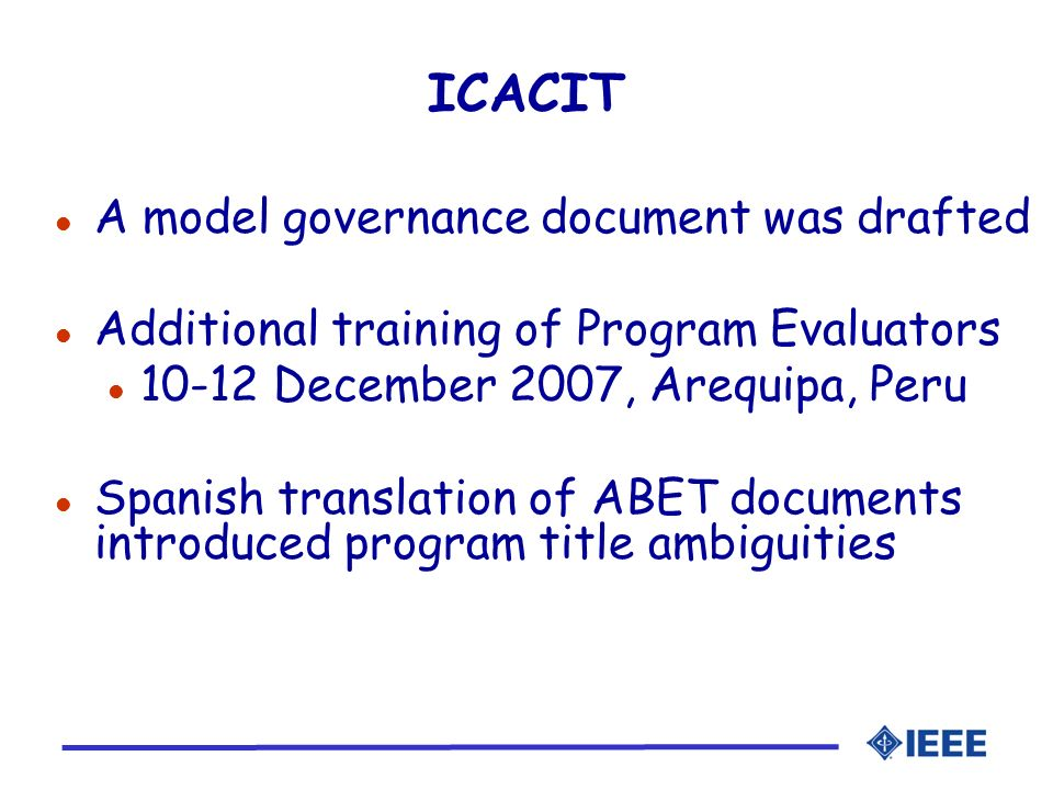 ICACIT A model governance document was drafted