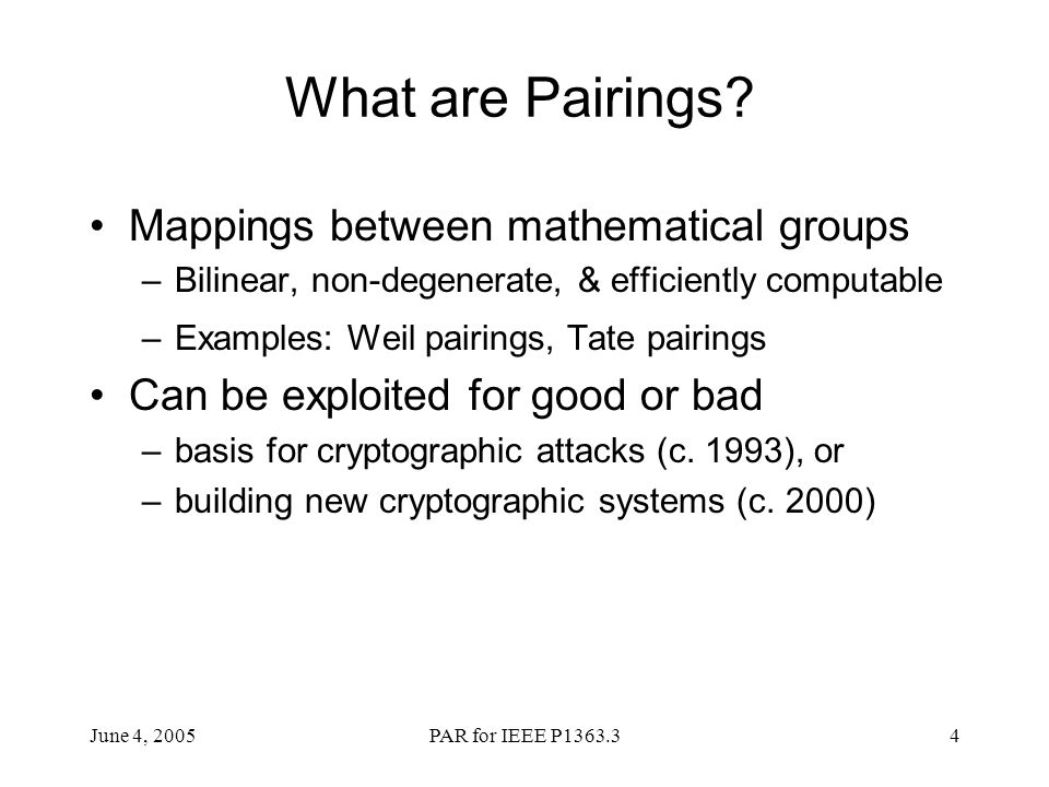 What are Pairings Mappings between mathematical groups