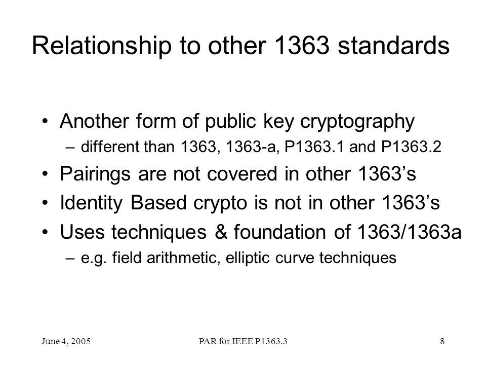 Relationship to other 1363 standards