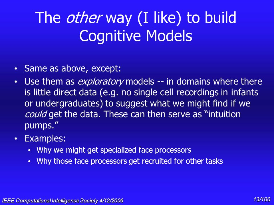 The other way (I like) to build Cognitive Models