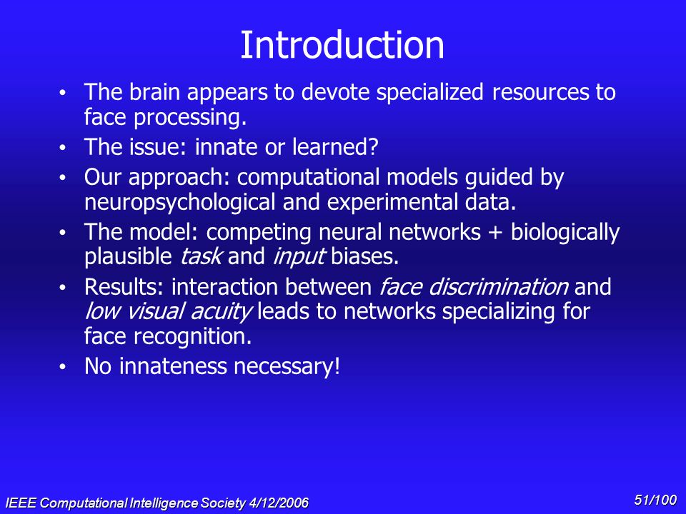 Gary Cottrell & * 07/16/96. Introduction. The brain appears to devote specialized resources to face processing.