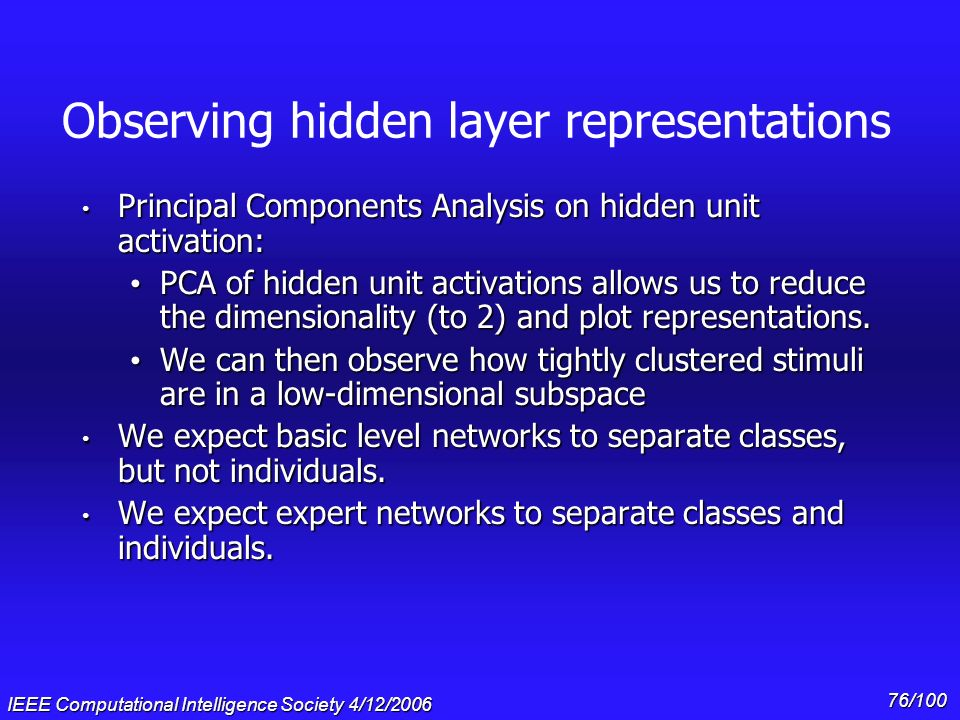Observing hidden layer representations