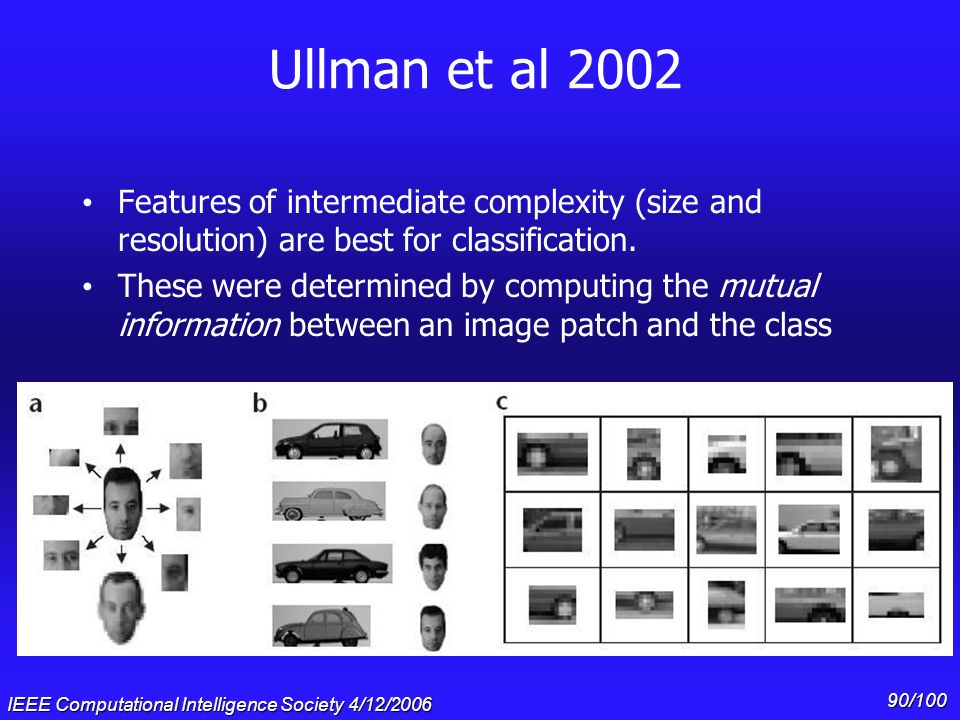 Ullman et al 2002 Features of intermediate complexity (size and resolution) are best for classification.