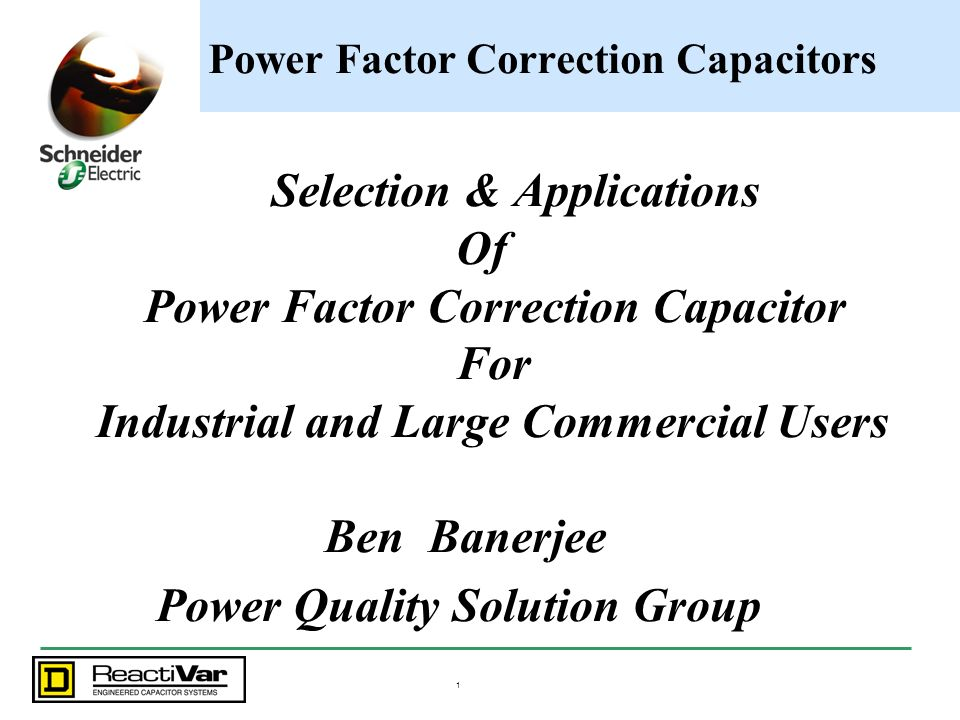 Power Factor Correction Capacitors Ppt Download
