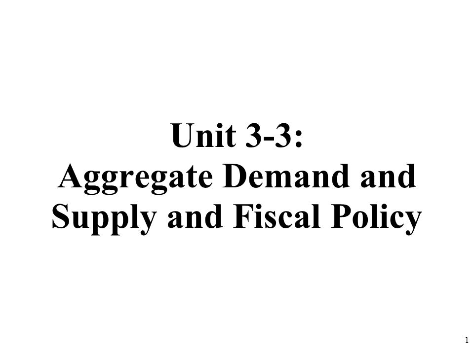 Unit 3-3: Aggregate Demand and Supply and Fiscal Policy