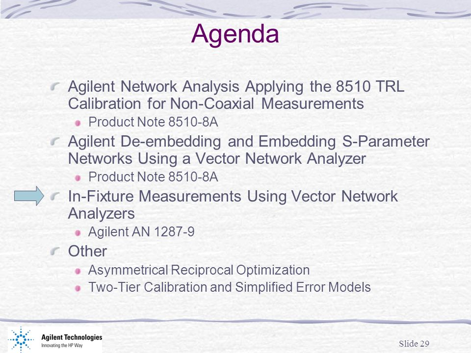 Agenda Agilent Network Analysis Applying the 8510 TRL Calibration for Non-Coaxial Measurements. Product Note A.