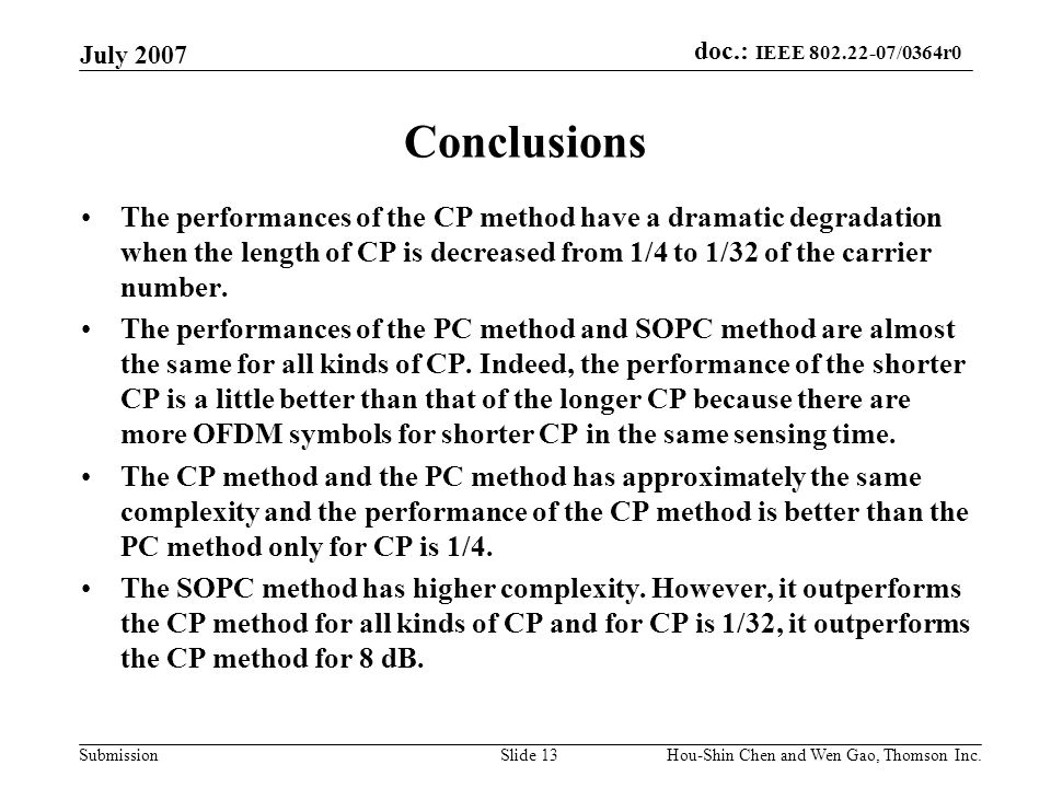 July 2007 Conclusions.