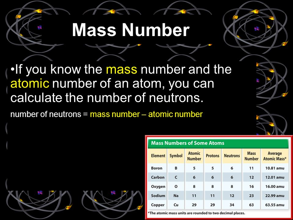 Mass Number If you know the mass number and the atomic number of an atom, you can calculate the number of neutrons.