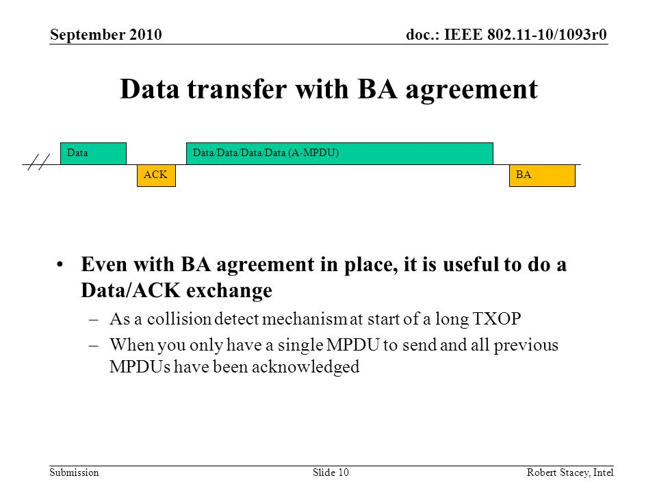 Data transfer with BA agreement