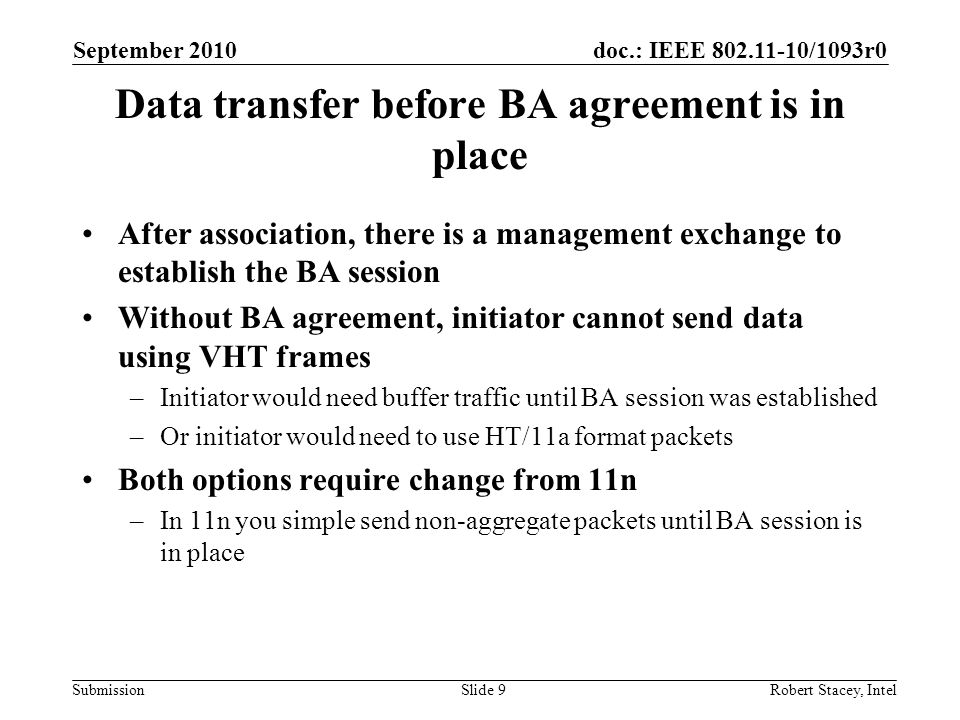 Data transfer before BA agreement is in place