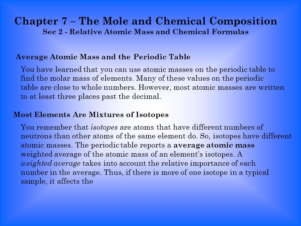 chapter 7 the mole and chemical composition