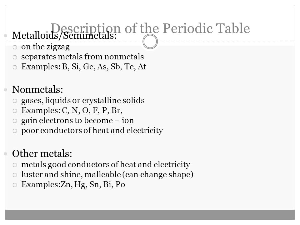 December 12th homework swbat explain the difference between ppt 37 description of the periodic table urtaz Choice Image