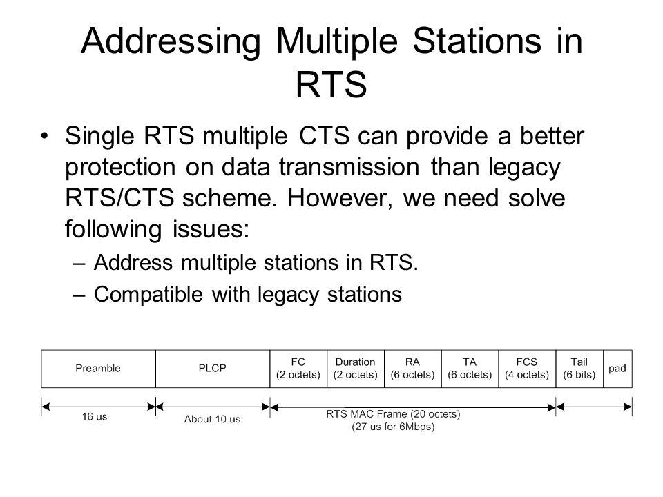 Addressing Multiple Stations in RTS