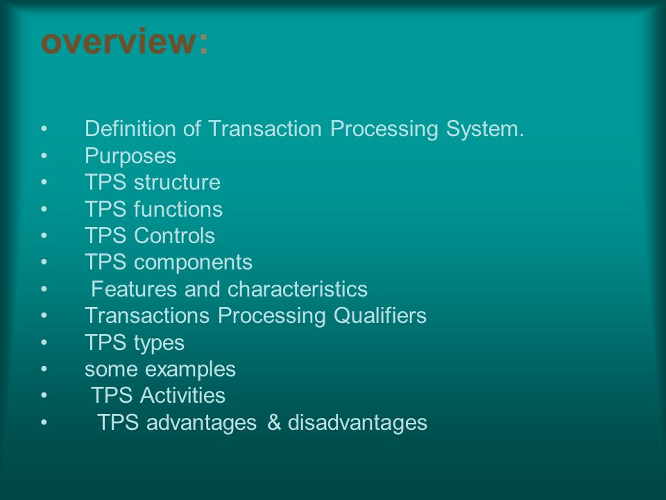 characteristics of a transaction
