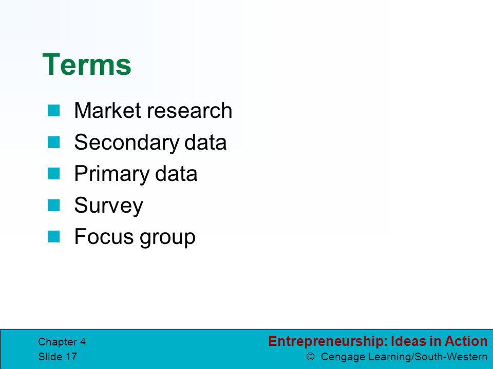 Terms Market research Secondary data Primary data Survey Focus group