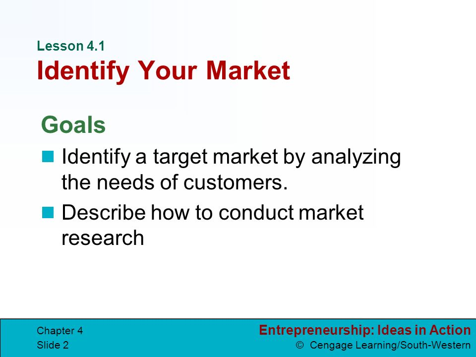 Lesson 4.1 Identify Your Market