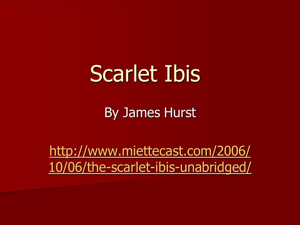 an analysis of brothers cruel personality in james hursts short story the scarlet ibis Join github today github is home to over 28 million developers working together to host and review code, manage projects, and build software together.