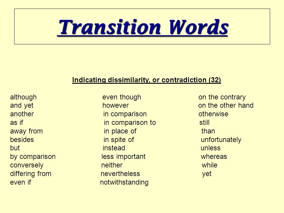 another transition word for according to