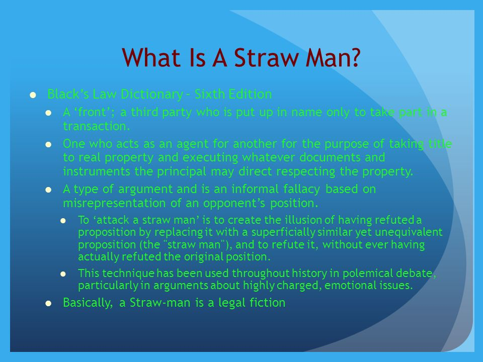 The Straw Man Your Election To Be A Taxpayer Executor Of Your