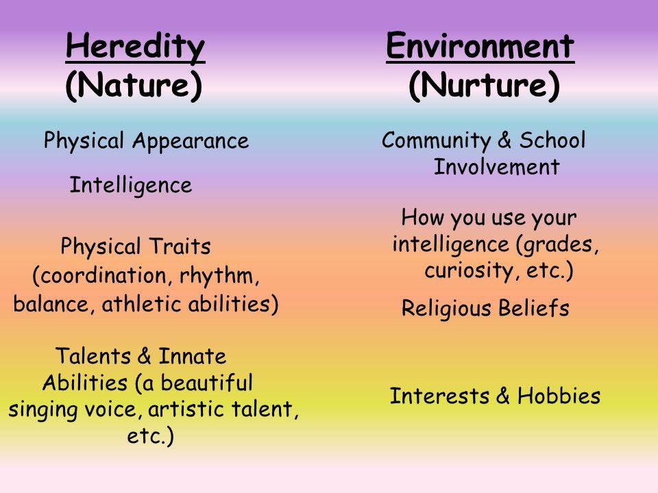 nature or nurture examples