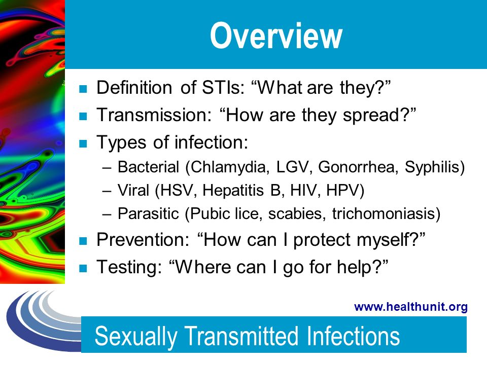 List five sexually transmitted infections parasites