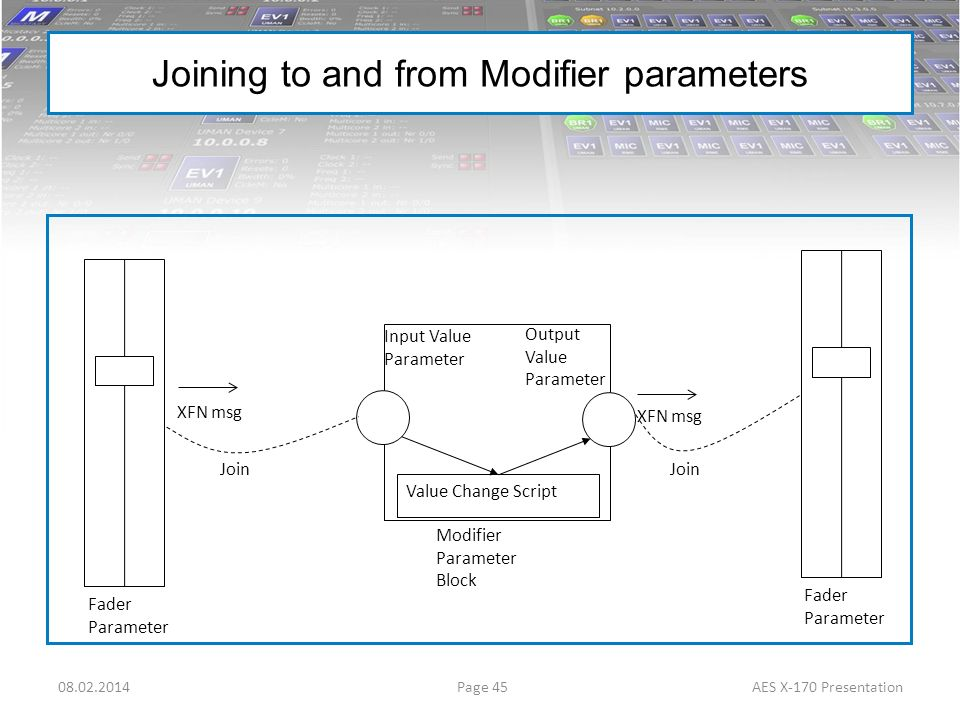 Joining to and from Modifier parameters