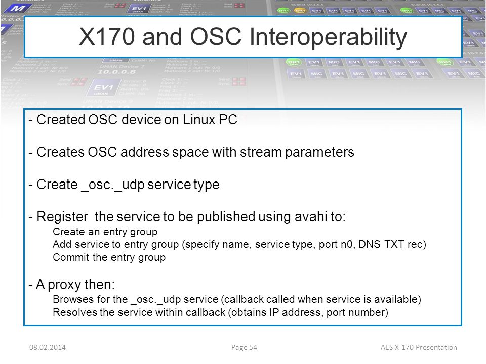 X170 and OSC Interoperability