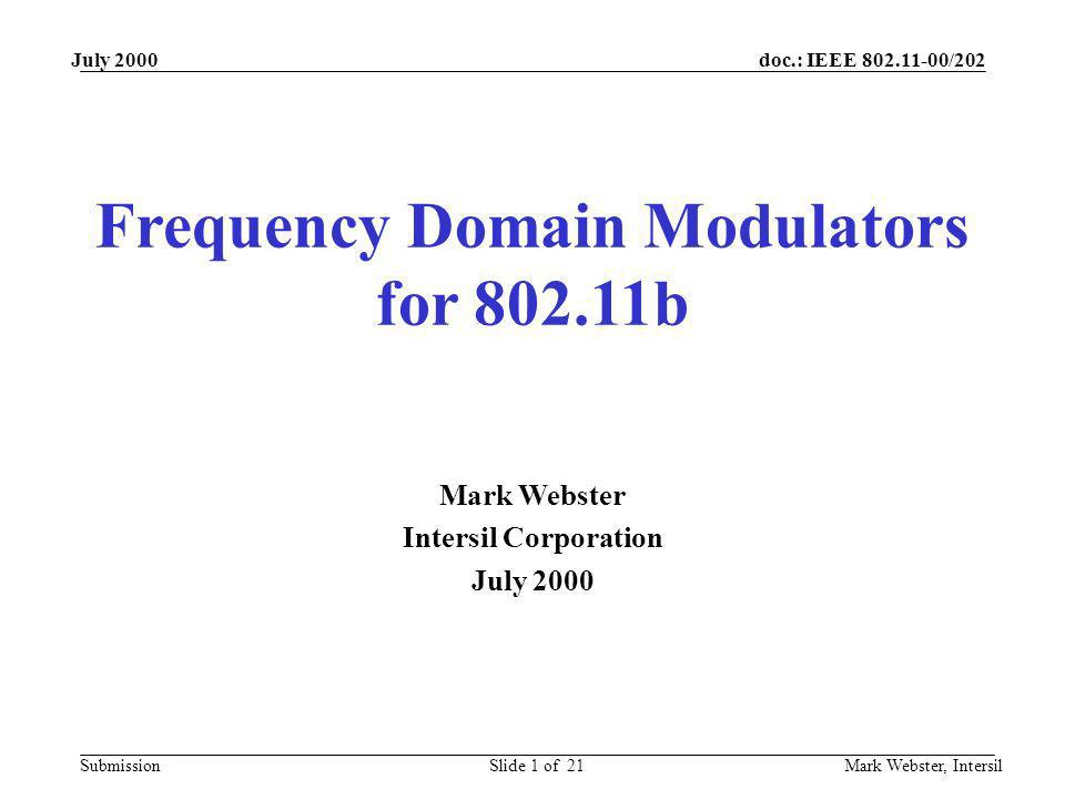Frequency Domain Modulators for 802.11b