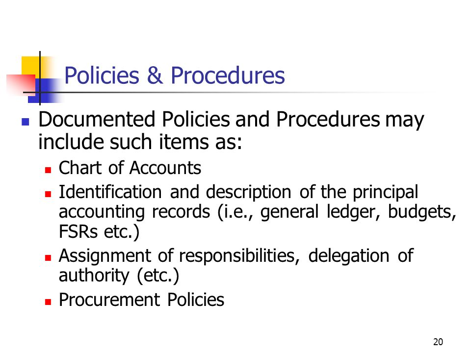 Policies & Procedures Documented Policies and Procedures may include such items as: Chart of Accounts.