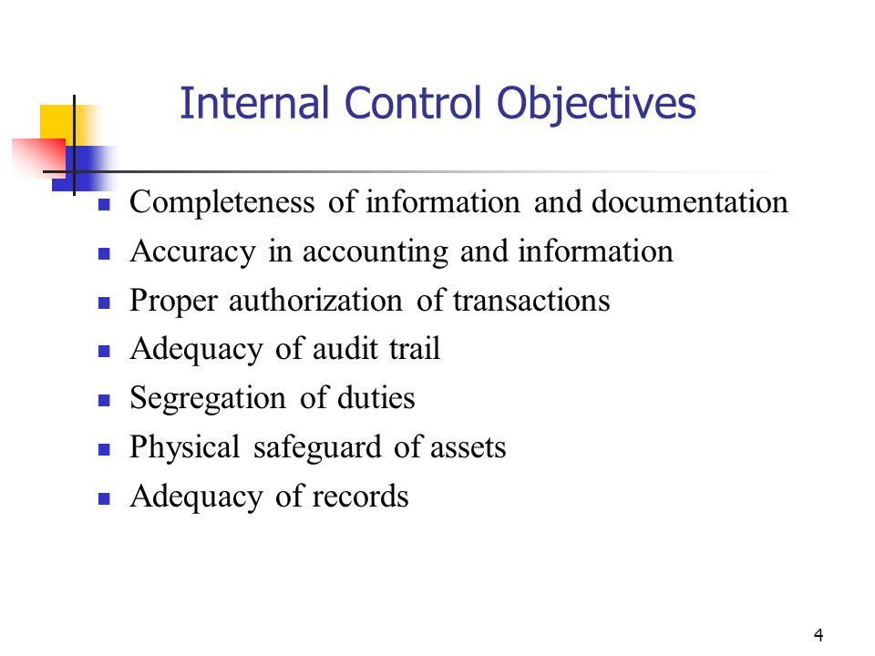 Internal Control Objectives