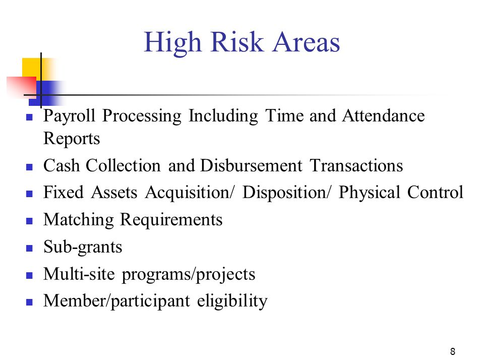 High Risk Areas Payroll Processing Including Time and Attendance Reports. Cash Collection and Disbursement Transactions.